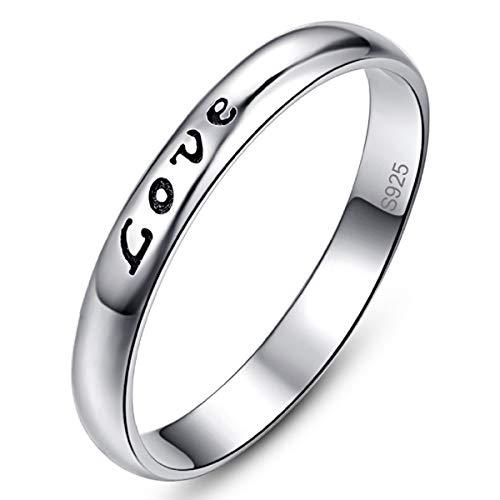 AVECON Ring Damen in Silber 925 mit Charakter Love Einfacher Ring Weiße Größe 54(17.2) (Mothers Ring Love)