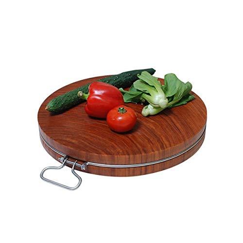 FS Schneidebrett, Haushalt Eisen Holz Schneidebrett Massivholz Kreis Schneidebrett Küche Gemüse Schneidebrett Verdickung Schneidebrett (größe : 42×5cm)