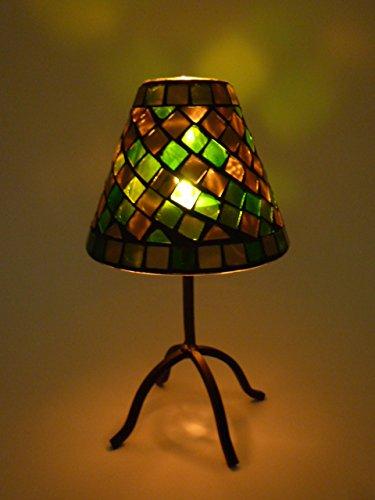 Gold-mosaik-tisch-lampe (Mosaik-Teelichthalter Pilz Windlicht aus Metall und Mosaikglas H20,5cm Tischdekoration Dekoration (Grün-gold))