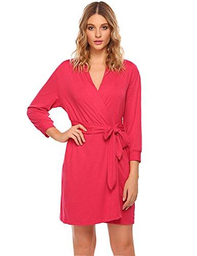 Unibelle Damen Morgenmantel 3/4 Ärmel Bademantel Kimono Baumwolle Saunamantel Robe Negligee mit V-Ausschnitt XXL (Lange Spa Robe)