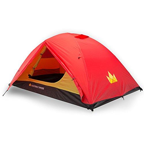 Backpacking Kuppelzelt für 2 Personen, 3 Saison Trekkingzelt mit wasserdichtem Regenrinne und Moskitonetzen von The Friendly Swede (Rot)