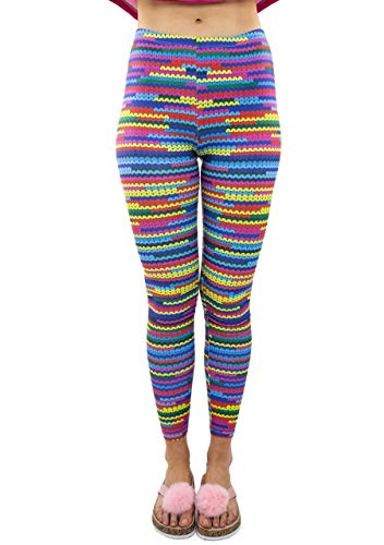 CHIC DIARY Damen bunt Sport Strumpfhose Leggings mit muster Fitness Yoga Joggen Pants Hose Mehrfarbig One size (#51931)