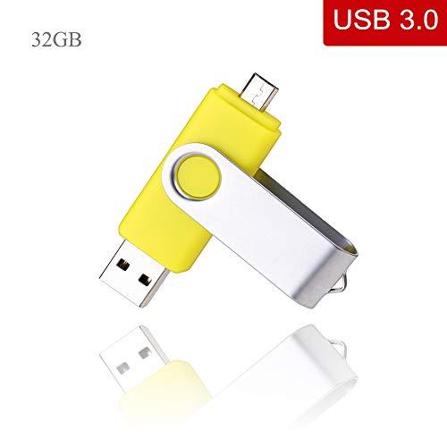 USB Stick kacai 32GB OTG 3.0 Handy Speicher 2 in 1 für Android und PC, Gelb -