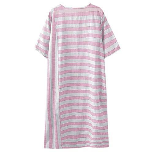 Gestreiftes Kurzarm-Oberteil aus Baumwolle und Leinen für Damen,Zolimx Plus Size Frauen Casual Baumwolle Leinen Long Shirt Streifen Rundhals Bluse Tops