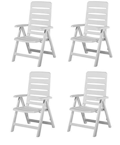 4 Kettler Nizza Gartenstuhl in weiß Klappsessel Gartenmöbel Sessel