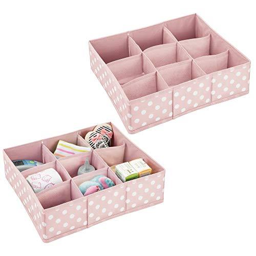 mDesign boîte de Rangement (Lot de 2) pour Chambre d'Enfants, Salle de Bain, etc. - Module de Rangement en Fibre synthétique - boîte en Tissu avec 9 Compartiments - Rose/Blanc
