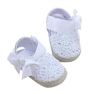 Auxma Baby Prewalker Schuhe,Erste Schritte für Baby-Mädchen,Bowknot-Sandalen,Spitzenblume für 0-6 6-12 12-18 Monat (11 0-6 M, Weiß)