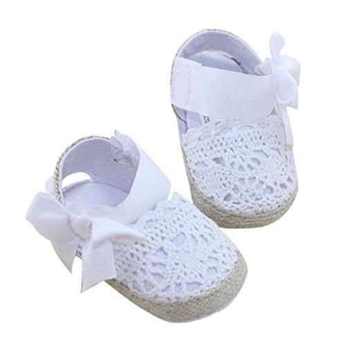 Auxma Baby Prewalker Schuhe,Erste Schritte für Baby-Mädchen,Bowknot-Sandalen,Spitzenblume für 0-6 6-12 12-18 Monat (12 6-12 M, Weiß)