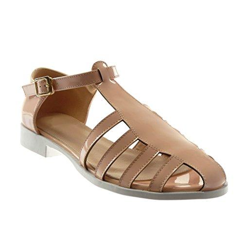 Angkorly Scarpe Moda Sandali con Cinturino Alla Caviglia Gladiatore Donna Verniciato Fibbia D'Oro Tacco a Blocco 2 cm Rosa chiaro