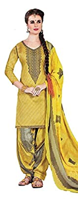 Cambric Cotton Punjabi Patiala Plazzo Ethnic Summer Party Casual wear Designer Embroidered Unstitched Salwar Kameez suit Dress Material with nazneen Chiffon Dupatta for women New collection 2018 By Elegance Fashion And You