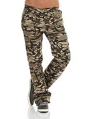 Pantalones térmicos para niños Pantalones Cargo en función de diseño camuflaje Pantalones de trekking Pantalón de snowboard Berg–Pantalones de senderismo con forro interior exterior 6980niña, color Armee, tamaño 158