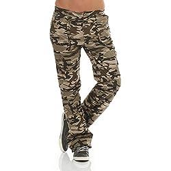 Pantalones térmicos para niños Pantalones Cargo en función de diseño camuflaje Pantalones de trekking Pantalón de snowboard Berg-Pantalones de senderismo con forro interior exterior 6980niña, color Armee, tamaño 158