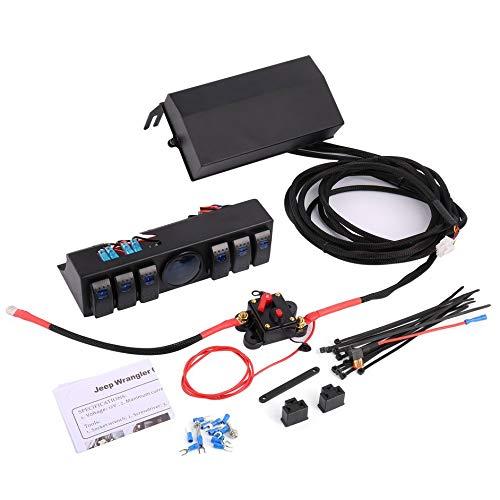 Matthew00Felix 6 Gang Rocker Switch Panel Switch Control Panel Sytem Voltage Meter for Jeep -