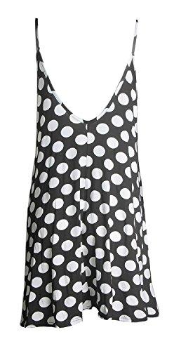 Frauen Strap Stieg Schädel Prüfung Scharf Boom Kleid Drucken Schaukel Tupfen Schwarz -Weiß