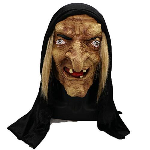 Hexe Kostüm Gruselige - Lixinfushi Unheimlich Erwachsene Alte Hexe Maske Latex Gruselige Halloween Kostüm Grimasse Party Kostüm Zubehör Cosplay Requisiten