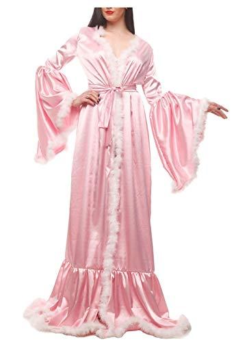 Baumwolle Satin Robe (ShineGown Elastischer Satin Morgenmantel Jahrgang Abendkleider Bademäntel Elegante Marabu Feder Robe)