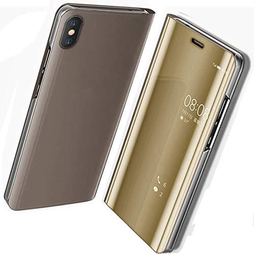 JAMMYLIZARD Smart View Hülle für Huawei P20 | Sichtfenster Spiegel Semi-Transparente Schutzhülle Flip Case Handyhülle Cover, Gold