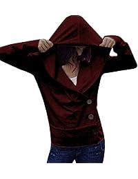 Yvelands Sudaderas Mujeres Pullover, Mujeres Casual Color sólido botón suéter Camiseta Slim Fit Coat Top!