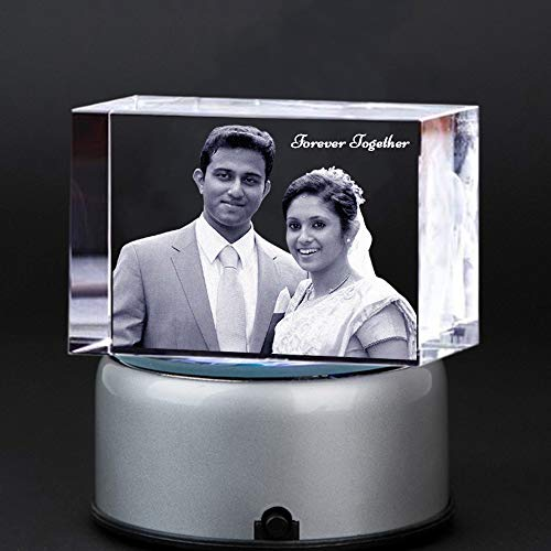 Customized Rectangle Large(Size 3x7x10 cm) 3D Crystal with Free LED Base Light Suits for - Fathersday