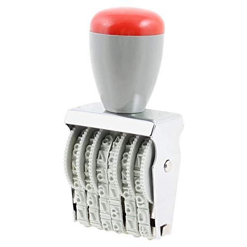 ALONGB Timbro a rulli numeratore numerico numerico a 6 cifre Rosso Grigio