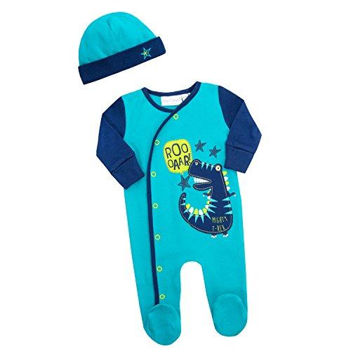 Schlafanzug Bandana (Baby Town Dinosaurier Design Schlafanzug Strampler alles in einem Strampler Bandana Lätzchen oder Wiege Mütze - blau Bild mit Mütze, Neugeboren)