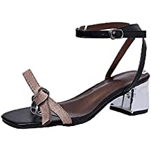 Saihui - Sandalias de vestir para mujer Negro Negro 40 EM8KZ89t
