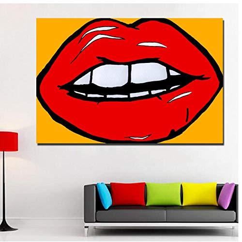 dayanzai Pop Art Lips Abstrakte Malerei Wandkunst Leinwand Gedruckt Malerei Für Wohnzimmer Dekoration-50X75 cm-Kein Rahmen (Lip-malerei)