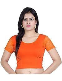 Fressia Fabrics Women's Cotton Saree Blouse (100_Ff_Orange_Free Size)