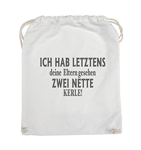 Comedy Bags - Ich hab letztens deine Eltern gesehen zwei nette Kerle! - Turnbeutel - 37x46cm - Farbe: Schwarz / Silber Weiss / Grau