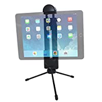 Tripod Mount Adapter, YuCool Upgrade Universal Adjustable Clamp Holder for All Ipad Pro, Surface, Smartphone, Tablet, Selfie Stick + Bonus Lightweight Mini Metal Tripod - Black