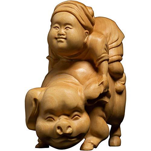Luxdeoo Figuren Skulpturen Statuen Dekoartikel Skulptur Buchsbaum Carving kreative Wohnzimmer Dekoration Carving Handwerk Zeichen Massivholz Reiten Schwein Ornamente -