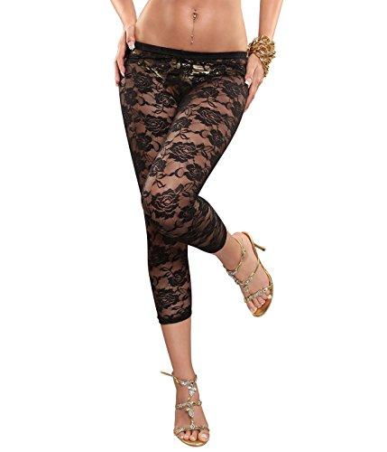 Berry Belle Glamour Stretch Leggins Risse unterlegt mit Spitze, Netz oder Leo Muster auch im Leder Look Größe (34-40) (Black Grace S/M) (Netz-leggins Leggins)