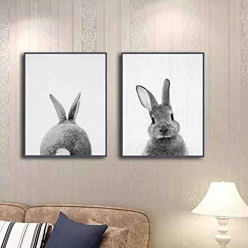 Zwei Kaninchen vor und nach dem ölgemälde Computer tintenmalerei ölgemälde dekorative malerei Kern 30 * 40cm * 2