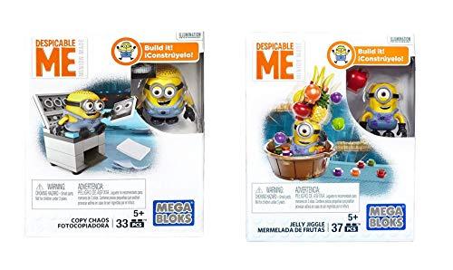 Mattel Minions- Mega Bloks- 2 er Set : 1 x Kopierer + 1 x Fruchtgele – Konstruktionsspielzeug zum Zusammenbauen – tolles Spielzeug Geschenk zum Geburstag oder zu Weihnachten – M01