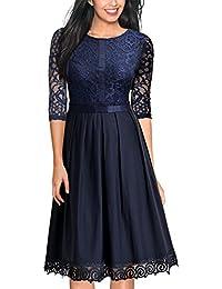 Miusol Damen Abendkleid Elegant Cocktailkleid Vintag 3/4 Arm mit Spitzen Knielang Party Kleid Dunkelblau / Weinrot Gr.S-XXL