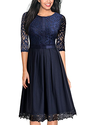 Miusol Damen Elegant Abendkleid Cocktailkleid Vintag 3/4 Arm mit Spitzen Knielang Party Kleid...