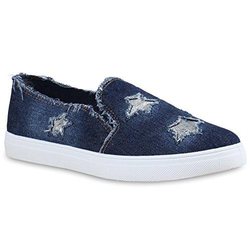 Damen Sneakers Jeans Denim Slipper Slip-ons Sterne Glitzer Schuhe Dunkelblau