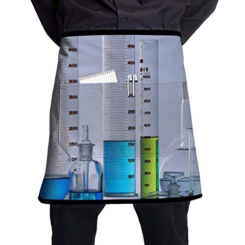 Pocket Half Length Short Waist Apron Chemistry Science Test Tube Cooking Apron with Pockets Home Kitchen Cooking Pinafore