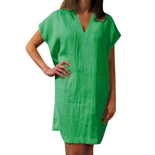uen Kleid Sommer Damen Lose Baumwolle Kleid Blusenbody Leinen Solide Kurzarm V Ausschnitt Mini Kleid ()