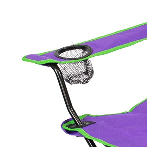 just be…® Folding Camping Chair – Purple with Green Trim