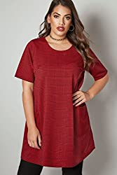 Yours Womens Dog Tooth Checked Tunic Dress With Front Pockets, Plus Size 16 To 36