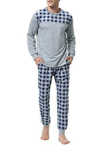 Aibrou pigiama uomo estivo lungo, pigiama set uomo manica lunga, pigiama due pezzi uomo