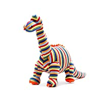 Knitted Multi Striped Diplodocus Dinosaur Soft Toy.  Suitable from Birth