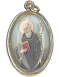 """1.1""""dorado oro St San Benito medalla encanto colgante, cadena y caja"""
