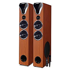 Truvison SE-555BT 2.0 Tower Speaker Bluetooth, Floor Standing Tower Home Pair Sound Speaker for TV DJ Party Home Theatre System, Karaoke Mic Included - Latest 2018 Model