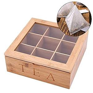 Organisateur de rangement pour boîte à thé en bois, format plus grand pouvant contenir 90 sachets à thé debout ou plats, 9 compartiments à coffre avec couvercle, fini bois naturel | Meilleure idée