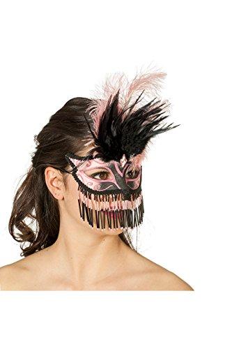 Jannes 34353 Venezianische Maske mit Perlen & Feder Venezianischer Karneval Venedig Einheitsgröße Rosa