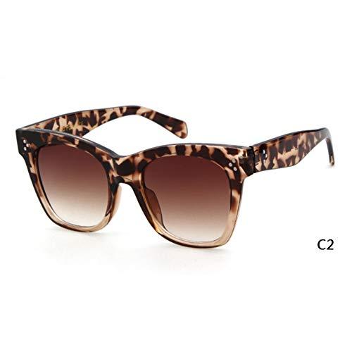 ZRTYJ Sonnenbrille Cat Eye Square Sonnenbrille Frauen Markendesigner Schildpatt Rahmen Retro Vintage Cateye Sonnenbrille Shades