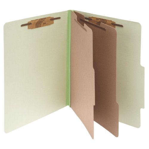 PRESSBOARD 25 PT  CLASSIFICATION FOLDER  LETTER  SIX SECTION  LEAF GREEN  10/BOX  SOLD AS 1 BOX