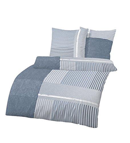 Träumschön Bettwäsche für Jugendliche 135x200 cm   Biberbettwäsche Jeans im Streifen Design   Bettwäsche aus 100% Baumwolle   Set 2-teilig -